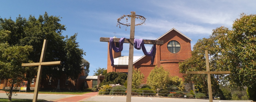Crosses in front of the Lobethal Lutheran Church Building